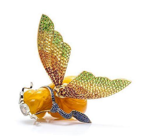 An 18 Karat Yellow Gold, Copal, Diamond and Multi Gem En Tremblant Brooch, 35.95 dwts.