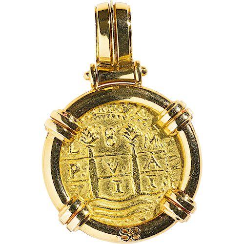 1711 PERU 8 ESCUDOS GOLD COIN IN 18K PENDANT