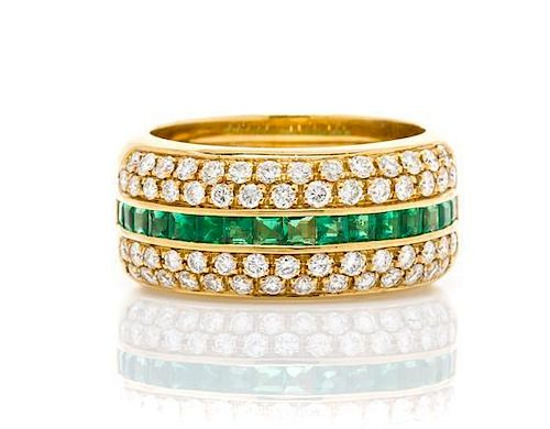 An 18 Karat Yellow Gold, Diamond and Emerald Band Ring, 5.10 dwts.