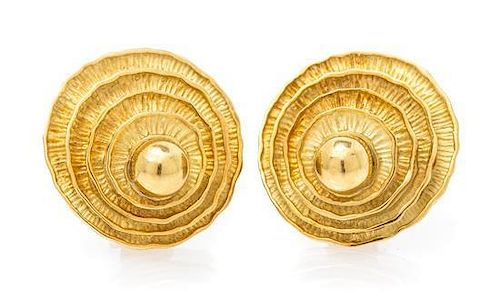 A Pair of 18 Karat Yellow Gold Earclips, 16.00 dwts.