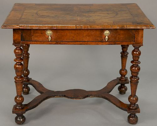 """Queen Anne walnut veneered dressing table with inlaid top. height 28 1/2in., top: 24"""" x 36 1/2"""". Provenance: Estate of Peggy & Dav..."""