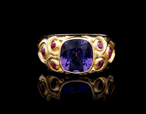 An 18 Karat Yellow Gold, Color Change Spinel and Ruby Ring, 8.63 dwts.