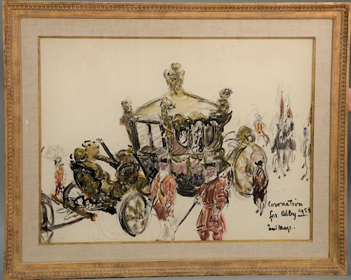 """Paul Lucien Maze (1887-1979), watercolor, """"Coronation for Abby 1953"""" coronation coach; titled, signed, and dated lower right: Corona..."""