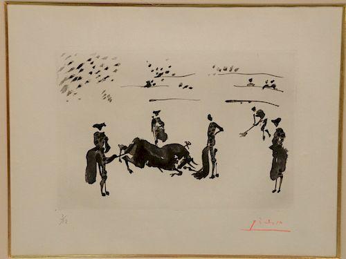Pablo Picasso (1881-1973), aquatint, rare, part of original set of twelve copies, #3 of 12, La Tauromaquia: Muerte Del Toro, hand si...