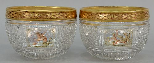 Set of twelve early 19th century crystal cylindrical finger bowls having heavy gilt and painted laurel pattern rim over diamond cut...