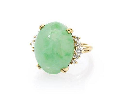 A 14 Karat Yellow Gold, Jade and Diamond Ring, 8.50 dwts.