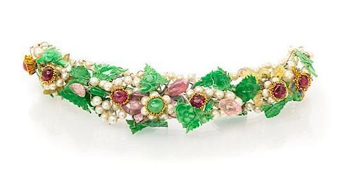 A Yellow Gold, Jade, Pearl, Tourmaline and Spinel Hair Ornament, Circa 1910,