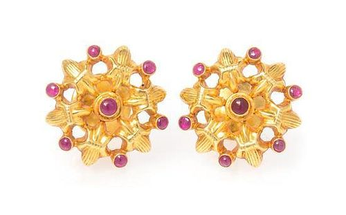 A Pair of 18 Karat Yellow Gold and Ruby Earrings, 4.70 dwts.