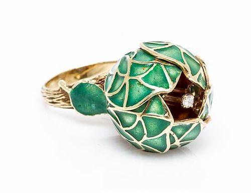 A 14 Karat Yellow Gold, Enamel, Emerald and Diamond Articulated Flower Ring, 9.90 dwts.
