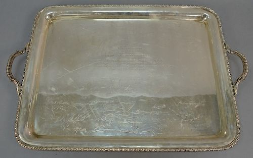 """Sterling silver tray with handles, monogrammed """"A. DAVID ROCKEFELLER PRESIDENTE COUNCIL FOR LATIN AMERICA"""", five lines in Spanish, s..."""
