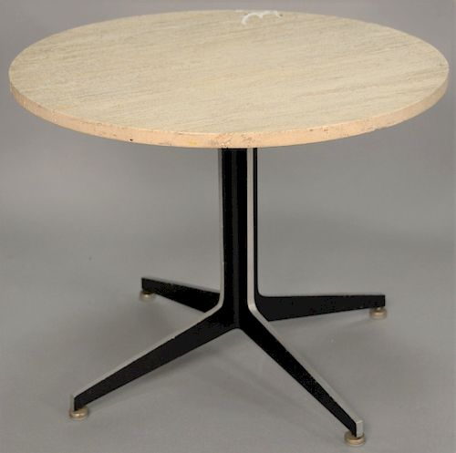 Mid Century Metal Table Base With Round Poured Marble Top Height 21