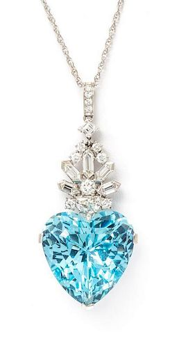 A Vintage Platinum, Aquamarine and Diamond Pendant Necklace, Bailey, Banks and Biddle, 11.70 dwts.
