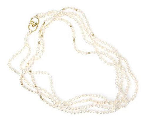 An 18 Karat Angela Cummings Pearl and Gold Bead Necklace, Tiffany & Co., 53.80 dwts.