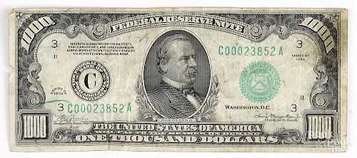 U S  series of 1934 $1000 Federal reserve note by Pook