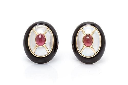 A Pair of 14 Karat Yellow Gold, Pink Tourmaline, Mother-of-Pearl and Onyx Earclips, 12.90 dwts.