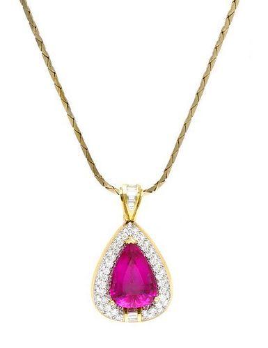 An 18 Karat Yellow Gold, Platinum, Tourmaline and Diamond Pendant, 10.40 dwts. (pendant only)