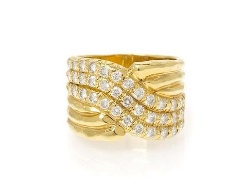 An 18 Karat Yellow Gold and Diamond Ring, Dunay, 7.35 dwts.