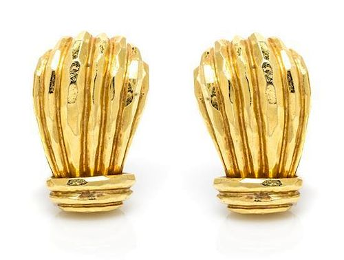 A Pair of 18 Karat Yellow Gold Textured Earclips, Henry Dunay, 12.60 dwts.