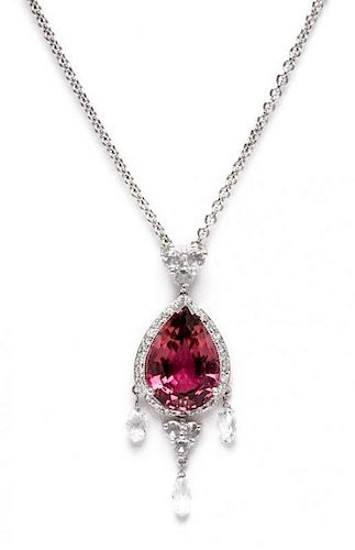 An 18 Karat White Gold, Tourmaline and Diamond Pendant Necklace, 4.70 dwts.