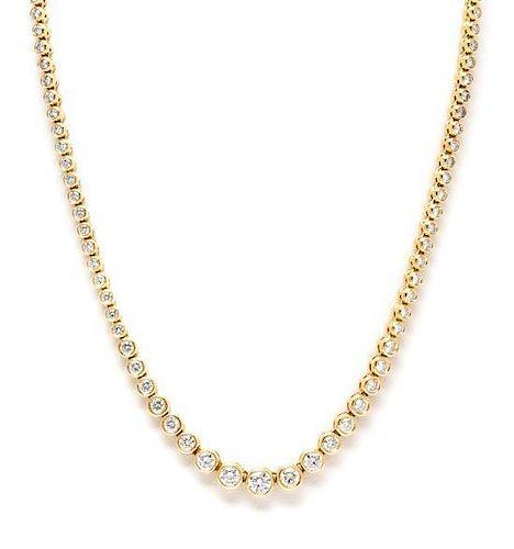 A 14 Karat Yellow Gold and Diamond Riviera Necklace, 24.15 dwts.