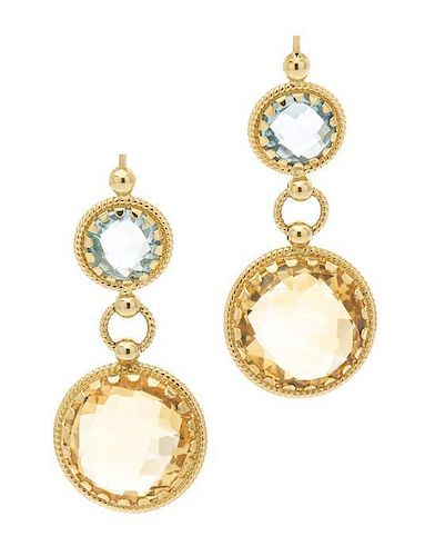 A Pair of 18 Karat Yellow Gold, Citrine and Blue Topaz Earrings, Italian, 5.60 dwts.