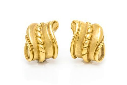 A Pair of 18 Karat Yellow Gold Earclips, Barry Kieselstein-Cord, 20.30 dwts.