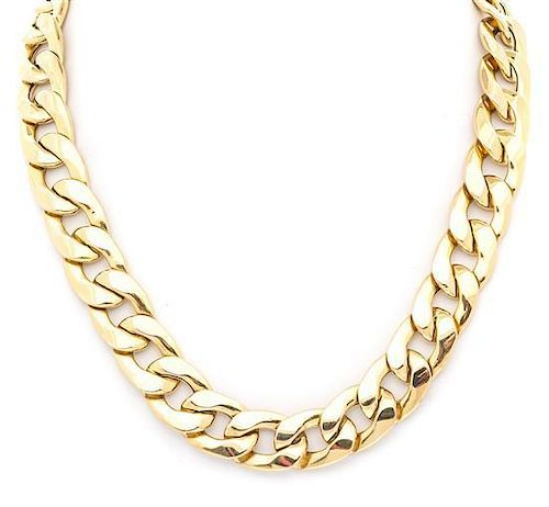 A 14 Karat Yellow Gold Curb Link Necklace, Italian, 48.85 dwts.