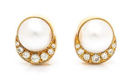 A Pair of 18 Karat Yellow Gold, Cultured Mabe Pearl and Diamond Earclips, Susan Berman, 9.30 dwts.