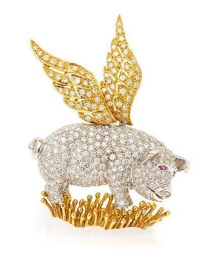 An 18 Karat Gold, Diamond and Sapphire Flying Pig Brooch, 11.70 dwts.