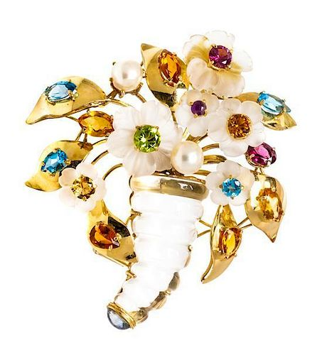 An 18 Karat Yellow Gold, Rock Crystal and Multi Gem Brooch, Italian, 33.60 dwts.