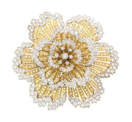 A Platinum, 18 Karat Yellow Gold and Diamond Flower Brooch, Italian, 31.80 dwts.