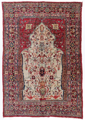 Antique Lavar Kerman Prayer Rug, Persia: 5'10'' x 8'5''