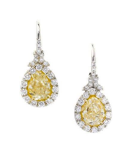 A Pair of Platinum, 18 Karat Yellow Gold, Fancy Color Diamond and Diamond Earrings, 4.10 dwts.