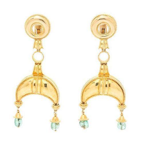 A Pair of 18 Karat Yellow Gold Earrings, Lalaounis, 29.60 dwts.