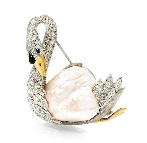 An 18 Karat Gold, Natural Pearl, Diamond, Sapphire and Enamel Swan Brooch, 18.90 dwts.