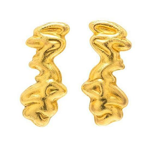 A Pair of 18 Karat Yellow Gold Earrings, Lalaounis, 14.20 dwts.