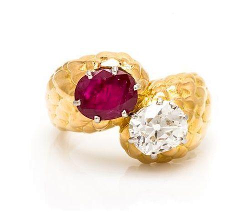 An 18 Karat Yellow Gold, Ruby and Diamond Toi et Moi Ring, Monture Boucheron, 7.25 dwts.