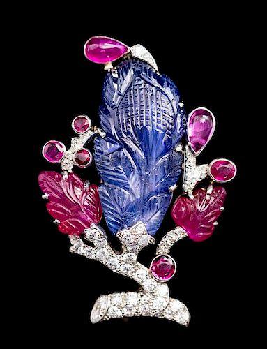 A Platinum, Gold, Ruby, Sapphire and Diamond Tutti-Frutti Brooch, Cartier, 13.50 dwts.