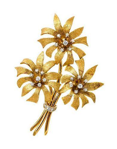 An 18 Karat Yellow Gold and Diamond Flower Brooch, 17.10 dwts.