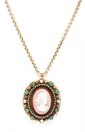 * A Hardstone Cameo, Emerald and Diamond Pendant Necklace, 30.60 dwts.