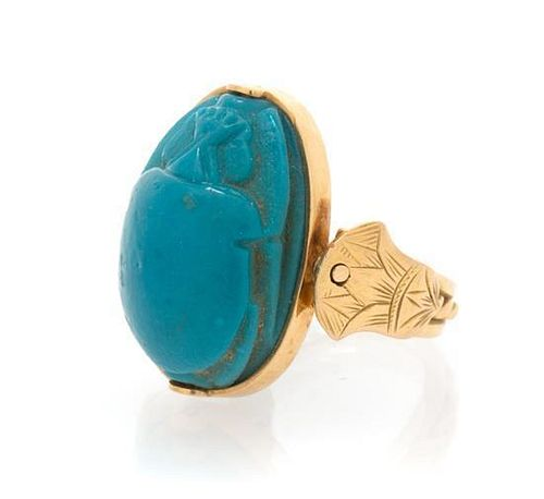 A Yellow Gold and Glass Scarab Ring, 5.30 dwts.