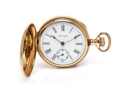 A Yellow Gold and Diamond Hunter Case Pocket Watch, Waltham,