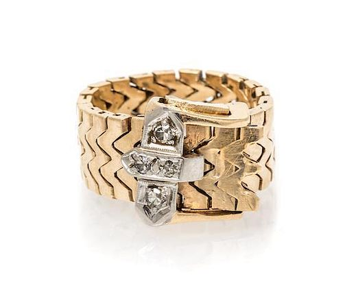 A 14 Karat Yellow, Gold and Diamond Belt Ring, 5.40 dwts.