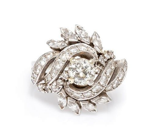 * A Platinum and Diamond Ring, 6.90 dwts.