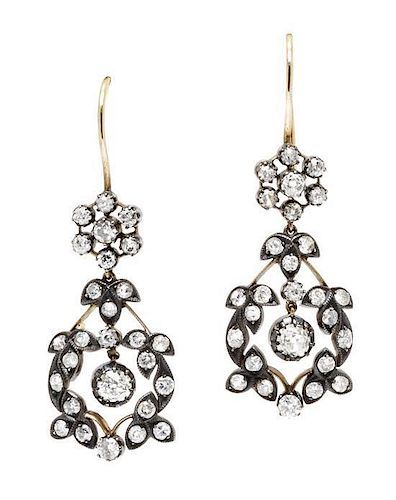 A Pair of Antique Silver Topped Yellow Gold and Diamond Earrings, 4.60 dwts.