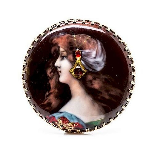 A Yellow Gold and Polychrome Enamel Portrait Brooch/Pendant, 17.25 dwts.