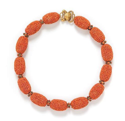 * A Gold Tone and Coral Bead Necklace, Alice Kuo
