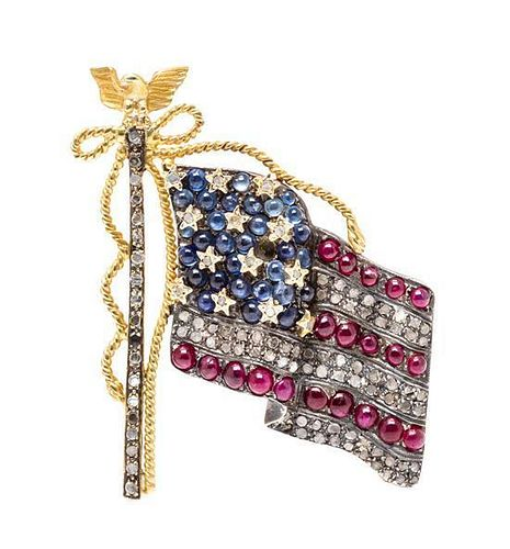 A Silver Topped Gold, Diamond, Sapphire and Ruby American Flag Brooch, 7.15 dwts.