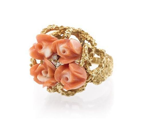 A 14 Karat Yellow Gold, Carved Coral and Diamond Ring, 10.00 dwts.
