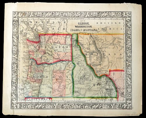 19th C Map Oregon Washington Idaho Part Of Montana By Artemis